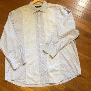 Nat Nast Long Sleeve Light Blue Pattern Shirt 2XL